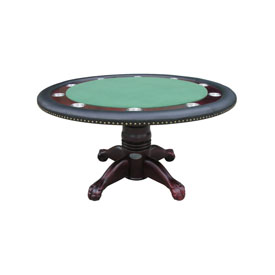 "60"" Round Poker Table w/ Optional Dining Top in Mahogany"