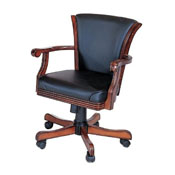 Chair in Antique Walnut w/ Black Leather