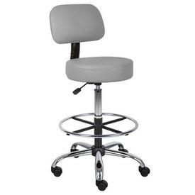Boss Caressoft Medical/Drafting Stool W/ Back Cushion in Grey