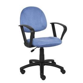 Boss Blue Microfiber Deluxe Posture Chair W/ Loop Arms.