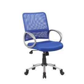 Boss Mesh Back W/ Pewter Finish Task Chair in Blue
