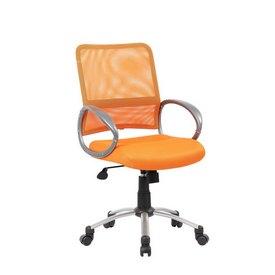 Boss Mesh Back W/ Pewter Finish Task Chair in Orange