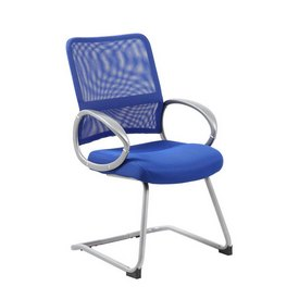 Boss Mesh Back W/ Pewter Finish Guest Chair in Blue