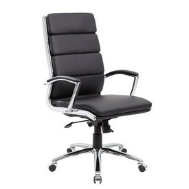 Boss Executive CaressoftPlus Chair with Metal Chrome Finish in Black