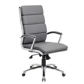 Boss Executive CaressoftPlus Chair with Metal Chrome Finish in Grey