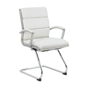 Boss Executive CaressoftPlus Chair with Metal Chrome Finish - Guest Chair in White