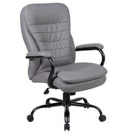 Boss Heavy Duty Double Plush CaressoftPlus Chair - 400 Lbs. in Grey