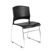 Boss Black Stack Chair With Chrome Frame 2 Pcs Pack