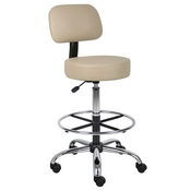 Boss Caressoft Medical/Drafting Stool W/ Back Cushion in Beige