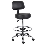 Boss Caressoft Medical/Drafting Stool W/ Back Cushion in Black