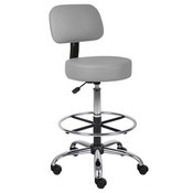 Boss Caressoft Medical/Drafting Stool W/ Back Cushion in Grey