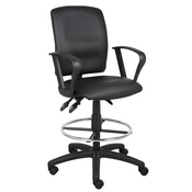 Boss Multi-Function LeatherPlus Drafting Stool W/ Loop Arms
