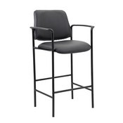 Boss Square Back Diamond Stool W/Arm In Black Caressoft