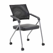 Boss Black Mesh Training Chair With Pewter Frame,2 In A Box