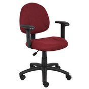 Boss Burgundy Deluxe Posture Chair W/ Adjustable Arms