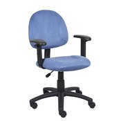 Boss Blue Microfiber Deluxe Posture Chair W/ Adjustable Arms.