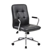 Boss Modern Office Chair w/Chrome Arms - Black
