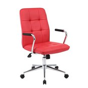 Boss Modern Office Chair w/Chrome Arms - Red