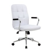 Boss Modern Office Chair w/Chrome Arms- White