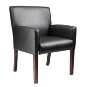 Boss Reception Box Arm Chair W/Mahogany Finish