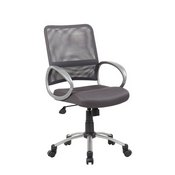 Boss Mesh Back W/ Pewter Finish Task Chair in Charcol Grey