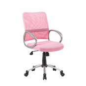 Boss Mesh Back W/ Pewter Finish Task Chair in Pink