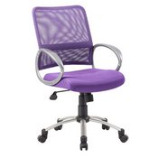 Boss Mesh Back W/ Pewter Finish Task Chair in Purple