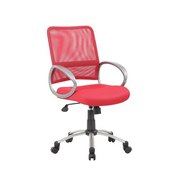 Boss Mesh Back W/ Pewter Finish Task Chair in Red