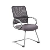Boss Mesh Back W/ Pewter Finish Guest Chair in Charcol Grey