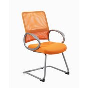 Boss Mesh Back W/ Pewter Finish Guest Chair in Orange