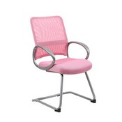Boss Mesh Back W/ Pewter Finish Guest Chair in Pink
