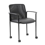 Boss Mesh Guest Chair with Casters, Black