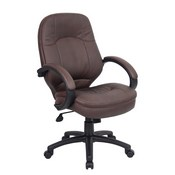 Boss LeatherPlus Cover Padded Armrest Executive Chair in Brown
