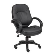 Boss LeatherPlus Cover Padded ArmrestExecutive Chair in Black