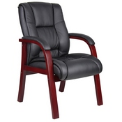 Boss Mid Back Wood Finished guest, accent or dining chair, Mahogany