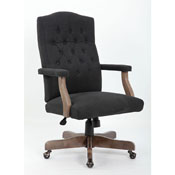 BOSS Executive Black Fabric  Chair With Driftwood Finish Frame