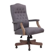 BOSS Executive Slate Grey Commercial Grade Linen Chair With Driftwood Finish Frame