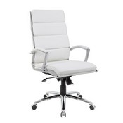 Boss Executive CaressoftPlus Chair with Metal Chrome Finish in White