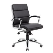 Boss Executive CaressoftPlus Chair with Metal Chrome Finish - Mid Back in Black
