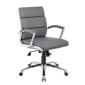 Boss Executive CaressoftPlus Chair with Metal Chrome Finish - Mid Back in Grey