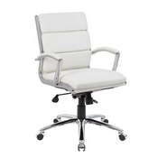 Boss Executive CaressoftPlus Chair with Metal Chrome Finish - Mid Back in White