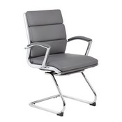 Boss Executive CaressoftPlus Chair with Metal Chrome Finish - Guest Chair in Grey
