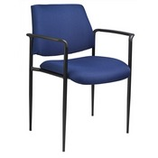 Boss Square Back Diamond Stacking Chair W/Arm In Blue