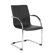 Boss Chrome Frame Black Vinyl Side Chair