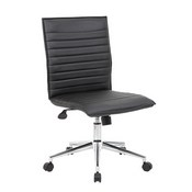 Boss Black Vinyl Armless Hospitality Chair