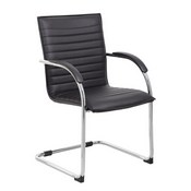 Boss Chrome Frame, Black Vinyl Side Chair, 2 pack