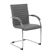 Boss Chrome Frame, Grey Vinyl Side Chair, 2 pack