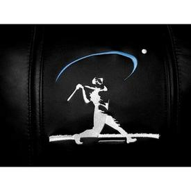 Baseball Home Run Swing Blue Logo Panel