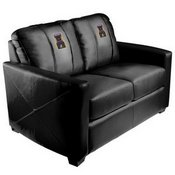 Silver Loveseat with Arcade Game Logo