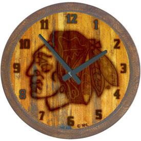 "Chicago Blackhawks: Branded ""Faux"" Barrel Top Wall Clock"